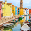 Color houses with boats on Burano island near Venice — Stock Photo #50988509