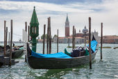 Gondolas and San Giorgio Maggiore church in Venice — Stock Photo