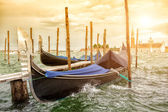 Gondolas on sunset, Grand Canal in Venice — Stock Photo