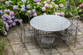 Table and chairs in garden with color hydrangea — Stock Photo