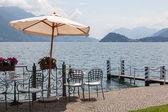 Cafe on promenade in Menaggio, Como lake — Stock Photo