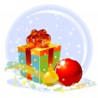 Gift box and two xmas globes — Stock Photo #1587464