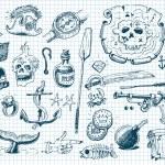 pirater doodles set — Stockvektor