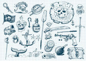 Pirater doodles set — Stockvektor