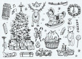 Vintage vector doodles. Kerstmis, winter — Stockvector