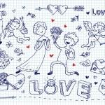 St Valentine Day doodles set — Stock Vector