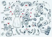Be my Valentine doodles set — Stock Vector