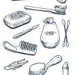Set of hygiene and bathroom tools in vintage — Stock Vector