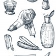 Set of hygiene and bathroom tools in vintage — Vektorgrafik