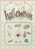 Halloween editable poster or menu in vintage stile — Stock Vector