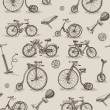 Retro bicycles seamless pattern — Stock Vector
