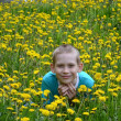 Foto de Stock  : Boy on clearing from dandelions