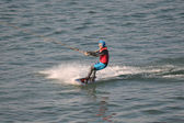 The athlete of water skiing on a water ski — Stockfoto