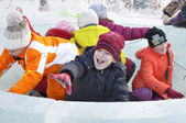 Winter children's entertainments. Ice bowl. — Stock Photo