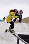 Competitions of snowboarders in the city of Tyumen. — 图库照片