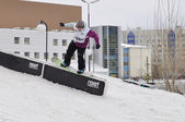 Competitions of snowboarders in the city of Tyumen. — Stock Photo