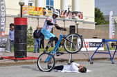 Mikhail Sukhanov performance, champions of Russia on a cycle trial. City Day of Tyumen on July 26, 2014 — Foto Stock