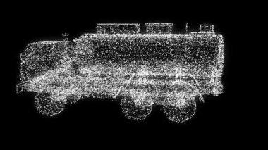 CG truck into SUV particles transformation. Seamless loop — Stock Video