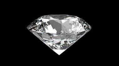 Loopbare draaiende diamant over zwart met sparkles — Stockvideo