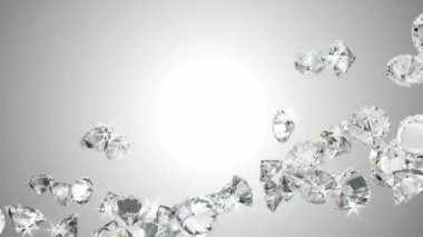 Large diamonds flow with slow motion — Stock Video
