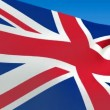 Seamless loop waving Great Britain flag. Alpha channel is included — Stock Video #12681467