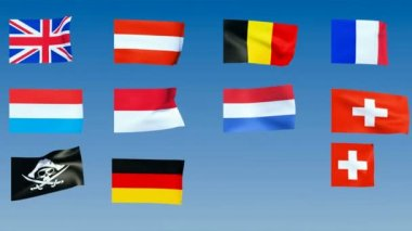 Western Europe Flags. Alpha channel is included — Stock Video