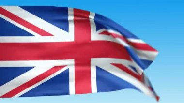 Seamless loop waving Great Britain flag. Alpha channel is included — Stock Video
