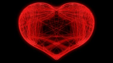 San valentín corazón que teje. canal alfa está incluido — Vídeo de Stock