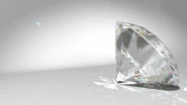 Large diamond or gem falling and rolling down — Stock Video