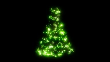 Loopable Rotating green sparkles shape of Christmas tree — Stock Video