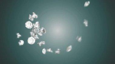 бриллианты крупные вихревой поток с медленное движение — Стоковое видео