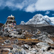 Tombstones or chorten for climber who died in Himalayas — Stock Photo #12839693