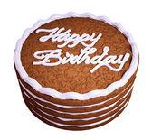 Happy birthday: sandwiched chocolate cake — Stock Photo