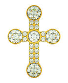 Jewelery: golden cross with diamonds isolated — ストック写真