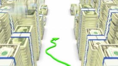Loopable gráfico verde subiendo entre los paquetes de dólares caen — Vídeo de stock