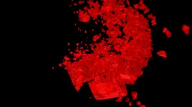 Red Heart explosion with Slow motion — Stock Video