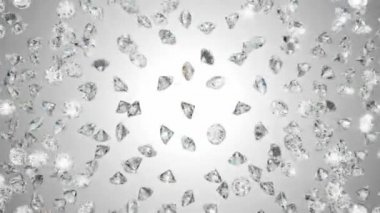 Diamonds scattering or flying away over studio light background — Stock Video