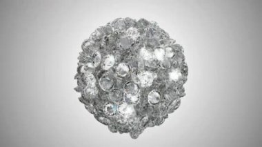Diamonds orb blast or scatter over studio light background — Stock Video