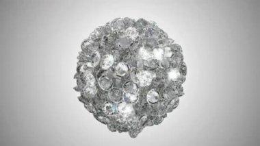 Diamonds orb blast or scatter over studio light background — Stock Video