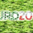 Stock Video: Euro 2012 championship. Symbols on grass