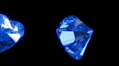 Loopable blue heart cut diamonds flow with slow motion — Stock Video