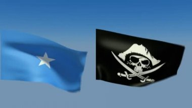 Loopable Somalia and pirates jolly Roger Flags — Stock Video