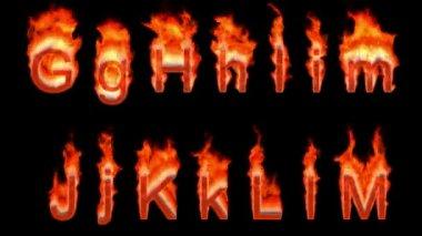 Endlos wiederholbar brennenden g, h, i, j, k, l, m — Stockvideo