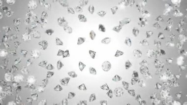 Diamonds heart shape assembling and exploding with slow motion — Stock Video