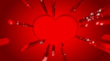 červená tvaru srdce den svatého valentýna a leskne se stopami — Stock video