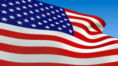 Seamless loop waving USA flag. Alpha channel is included — Stock Video