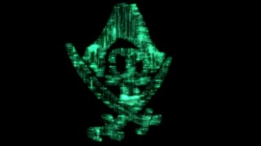 Loppable cyberspace Pirate symbol or jolly Roger — Stock Video