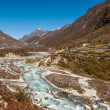 Stock Photo: Village and drained river in Himalaya