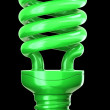 Stock Photo: Efficiency and eco friendly technology: green light bulb