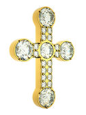 Religion and fashion: golden cross with diamonds isolated — Stock Photo